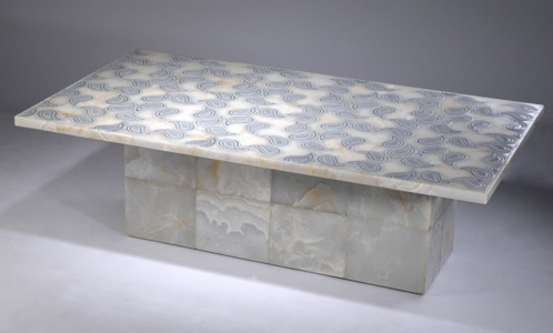 italian inlaid marble coffee table (T3457)