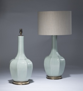 pair of large pale blue celadon lamps on distressed brass bases (T3479)