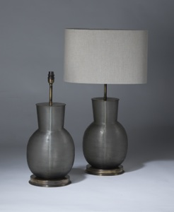 pair of medium grey taupe cut glass lamps on distressed brass bases (T3491)