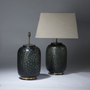 pair of large grey green cut glass lamps on distressed brass bases (T3500)