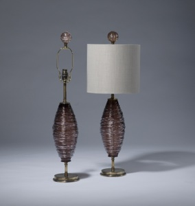 pair of small dusty purple brown swirl glass lamps on distressed brass bases with matching finials (T3507)