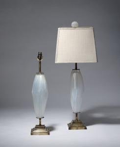 pair of medium white facetted cut glass lamps on distressed brass bases (T3514)