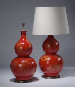 pair of large red gold chinese double-gourd ceramic lamps on distressed brass bases (T3519)