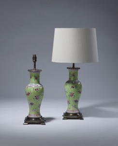 pair of small antique green pink ceramic lamps on distressed brass bases (T3527)