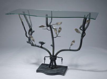 wrought iron 'leaf' console table in grey, distressed silver leaf highlight finish with shaped glass top (T3543)