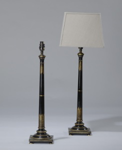 pair of medium wooden black gold painted column lamps (T3562)