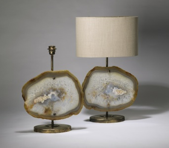 pair of medium white brown agate lamps on distressed brass bases (T3569)