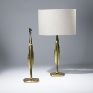 pair of large gold gilt metal bronze italian style lamps (T3591)