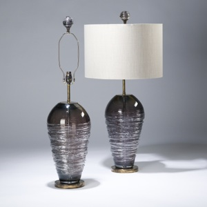 pair of large purple swirl glass lamps on distressed brass bases (T3592)