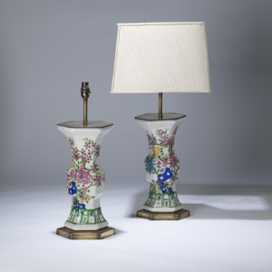 pair of medium green, pink chinese hexagonal ceramic lamps on distressed brass bases (T3599)