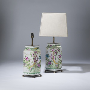 pair of medium green, pink chinese diamond shaped ceramic lamps on distressed brass bases (T3600)