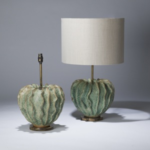 pair of medium green ceramic coral lamps on distressed brass bases (T3602)