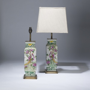 pair of small green, pink coloured cube lamps on distressed brass bases (T3608)