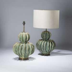 pair of large green ceramic double gourd coral lamps on distressed brass bases (T3610)