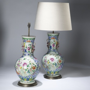 pair of large blue floral chinese ceramic lamps on distressed brass bases (T3611)