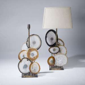 pair of large agate disc lamps on distressed brass bases (T3650)