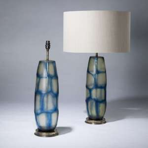 pair of large blue cut glass lamps on distressed brass bases (T3662)