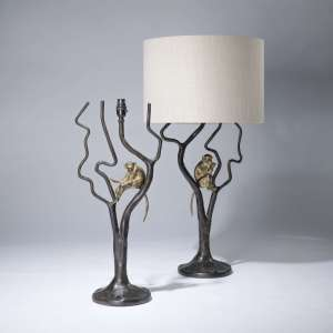 pair of large brown and gilt single monkey lamps (T3663)