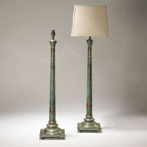 Pair of large hand painted turquoise wooden column lamps (T3712)