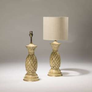 Pair of medium cream&gold hand pained pineapple metal lamps (T3734)