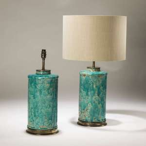 Pair of large turquoise rustic ceramic lamps on distressed brass bases (T3736)