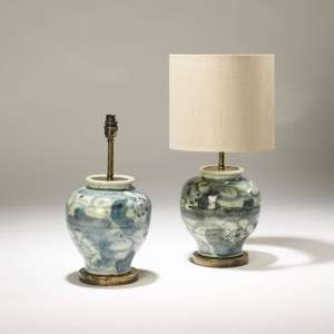 Pair of small abstract blue&white ceramic lamps on distressed brass bases (T3737)