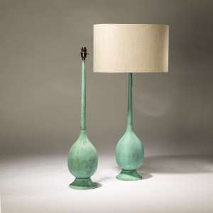 Pair of large turquoise metal copper lamps (T3747)
