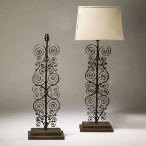 Pair of large brown bronze painted wrought iron lamps (T3748)