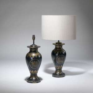 Pair of medium black painted gold gilt lamps (T3765)