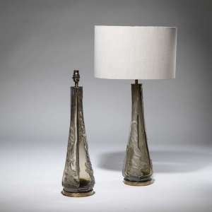 Pair of medium olive coloured 'Splash' lamps on distressed brass bases (T3766)