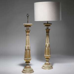 Pair of large antique french wooden table lamps (T3770)