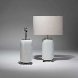 Pair of Small white shagreen ceramic lamps on nickel bases (T3773)