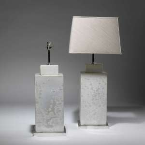 Pair of large square white pearl glaze ceramic vases on nickel bases (T3780)