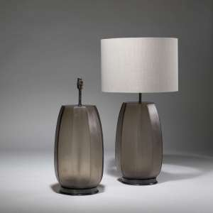 Pair of large brown cut glass lamps on bronze bases (T3783)