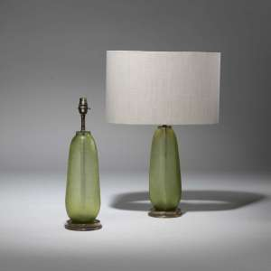 Pair of small green cut glass lamps on distressed brass bases (T3807)