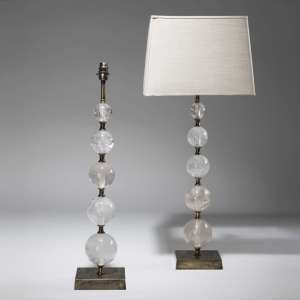Pair of large clear rock crystal graduated ball lamps on antique distressed bases (T3815)