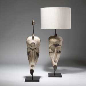 Pair of large white african tribal mask lamps on bronze bases (T3816)