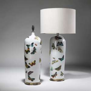 Pair of large butterfly ceramic Vases on distressed brass bases (T3820)