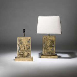 pair of medium yellow chinoiseries painted wooden lamps (T3838)