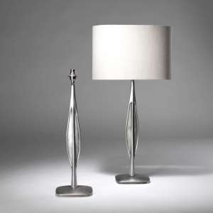 Pair of large 1950's Italian style Bronze lamps with polished silver finish (T3843)