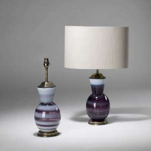 Pair of small purple gourd shape lamps (T3848)