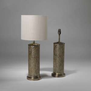 Pair of medium hand painted cherry blossom lamps with brass bases (T3876)
