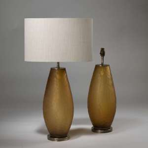 Pair of medium orange 'honeycomb' glass lamps on brass bases (T3881)
