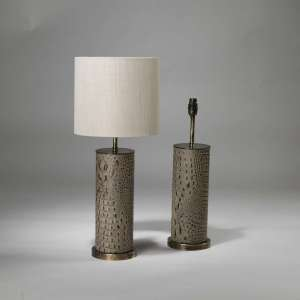 Pair of small cream leather 'crocodile' lamps on brass bases (T3885)