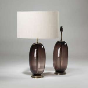 Pair of medium purple brown glass 'peanut' lamps on brass bases (T3903)