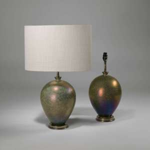Pair of small opal glaze balloon lamps on brass bases (T3910)