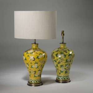 Pair of large antique yellow heron and palm green print lamps on brass bases (T3915)