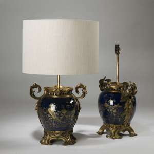 Pair of medium antique navy blue french ormolu lamps circa 1790 on brass bases (T3918)