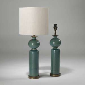Pair of small green blue teal column ceramic lamps on brass bases (T3919)