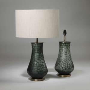 Pair of medium green honeycomb glass lamps on brass bases (T3921)
